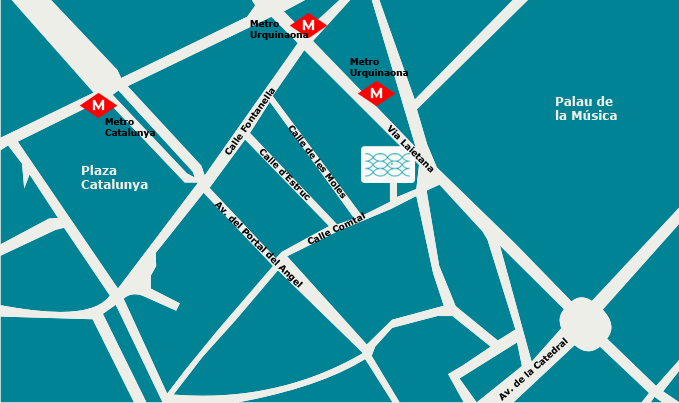 AquaBliss Fish Spa Barcelona map mapa Plaza Catalunya Uquinaona location